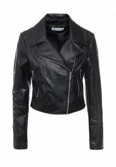 Куртка кожаная, Rinascimento, цвет: черный. Артикул: RI005EWQET20. Женская одежда / Верхняя одежда / Косухи