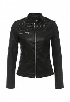 Куртка кожаная, Softy, цвет: черный. Артикул: SO017EWROZ39. Женская одежда / Верхняя одежда / Кожаные куртки