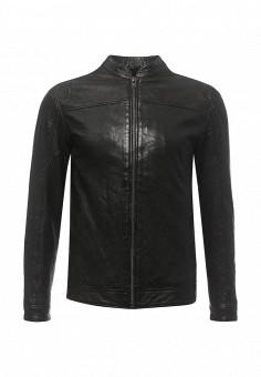 Куртка кожаная, Solid, цвет: черный. Артикул: SO999EMRDR36. Мужская одежда / Верхняя одежда / Кожаные куртки