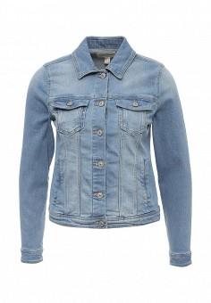 Куртка джинсовая, Springfield, цвет: голубой. Артикул: SP014EWRKX89. Женская одежда / Тренды сезона / Летний деним / Джинсовые куртки