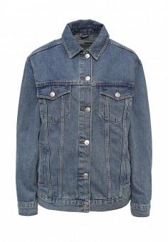 Куртка джинсовая, Topshop, цвет: голубой, синий. Артикул: TO029EWPEQ16. Женская одежда / Верхняя одежда / Джинсовые куртки