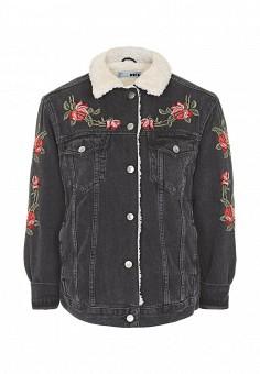 Куртка джинсовая, Topshop, цвет: черный. Артикул: TO029EWQTG83. Женская одежда / Тренды сезона / Летний деним / Джинсовые куртки