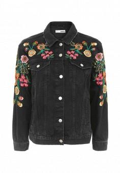 Куртка джинсовая, Topshop, цвет: черный. Артикул: TO029EWQZZ70. Женская одежда / Тренды сезона / Летний деним / Джинсовые куртки