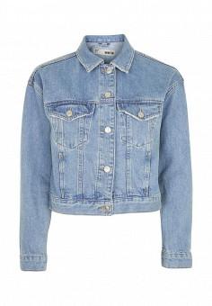 Куртка джинсовая, Topshop, цвет: голубой. Артикул: TO029EWSCO91. Женская одежда / Тренды сезона / Летний деним / Джинсовые куртки