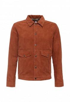 Куртка кожаная, Topman, цвет: коричневый. Артикул: TO030EMJEZ00. Мужская одежда / Верхняя одежда / Кожаные куртки
