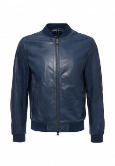 Куртка кожаная, Tommy Hilfiger, цвет: синий. Артикул: TO263EMJCY54. Мужская одежда / Верхняя одежда / Кожаные куртки