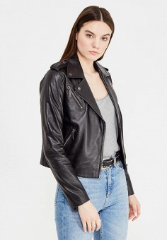 Куртка кожаная, Tommy Hilfiger, цвет: черный. Артикул: TO263EWTPD98. Женская одежда / Верхняя одежда / Кожаные куртки