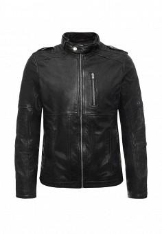 Куртка кожаная, Tom Tailor Denim, цвет: черный. Артикул: TO793EMKRI30. Мужская одежда / Верхняя одежда / Кожаные куртки
