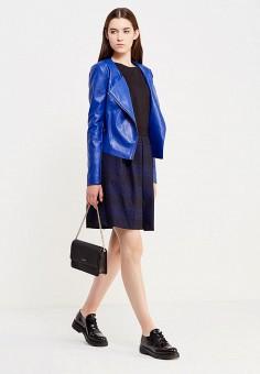 Куртка кожаная, Trussardi Jeans, цвет: синий. Артикул: TR016EWUZI29. Женская одежда / Верхняя одежда / Косухи