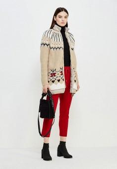 Пуховик, Twin-Set Simona Barbieri, цвет: бежевый. Артикул: TW005EWUME26. Женская одежда / Верхняя одежда / Пуховики и зимние куртки