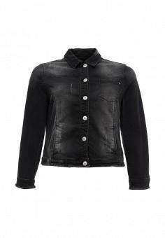 Куртка джинсовая, Ulla Popken, цвет: черный. Артикул: UL002EWPRR73. Женская одежда / Верхняя одежда / Джинсовые куртки