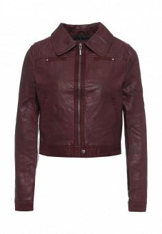 Куртка кожаная, Urban Bliss, цвет: бордовый. Артикул: UR007EWRNE89. Женская одежда / Верхняя одежда / Кожаные куртки