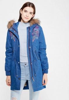 Парка, V&Florence, цвет: синий. Артикул: VF001EWVFF66. Женская одежда / Верхняя одежда / Пуховики и зимние куртки