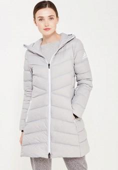 Пуховик, adidas Performance, цвет: серый. Артикул: AD094EWUOG75. Женская одежда / Верхняя одежда / Пуховики и зимние куртки