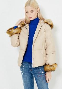 Пуховик, Armani Jeans, цвет: бежевый. Артикул: AR411EWTYA59. Премиум / Одежда / Верхняя одежда / Пуховики и зимние куртки