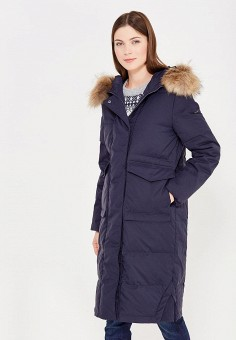 Пуховик, Baon, цвет: синий. Артикул: BA007EWWAR10. Женская одежда / Верхняя одежда / Пуховики и зимние куртки / Длинные пуховики и куртки