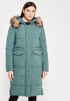 Пуховик, Befree, цвет: зеленый. Артикул: BE031EWYME08. Женская одежда / Верхняя одежда / Пуховики и зимние куртки / Длинные пуховики и куртки