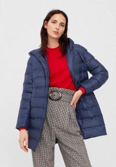 Пуховик, Mango, цвет: синий. Артикул: MA002EWWFA58. Женская одежда / Верхняя одежда / Пуховики и зимние куртки