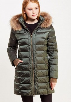 Пуховик, Savage, цвет: зеленый. Артикул: SA004EWVJW88. Женская одежда / Верхняя одежда / Пуховики и зимние куртки