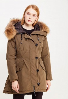 Пуховик, Savage, цвет: хаки. Артикул: SA004EWVJX00. Женская одежда / Верхняя одежда / Пуховики и зимние куртки