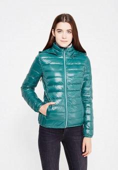 Пуховик, United Colors of Benetton, цвет: зеленый. Артикул: UN012EWVXJ98. Женская одежда / Верхняя одежда / Пуховики и зимние куртки
