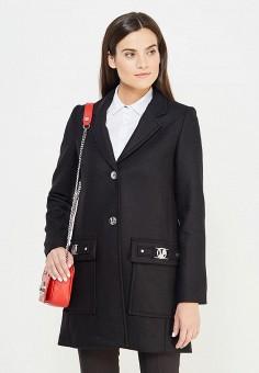 Пальто, Versace Jeans, цвет: черный. Артикул: VE006EWUBI09. Премиум / Одежда / Верхняя одежда